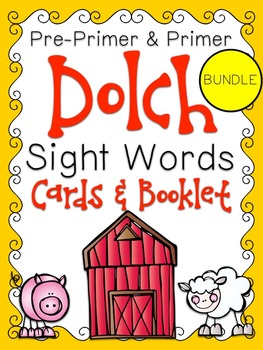 Pre-Primer & Primer Dolch Sight Word Cards & Booklet BUNDL