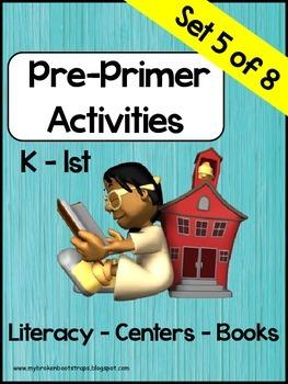 Pre Primer Sight Word Activities Set 5 of 8