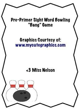 """Sight Word Bowling """"Bang"""" Game"""