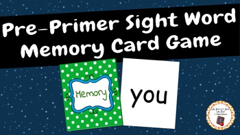 Pre-Primer Sight Word Memory Card Game