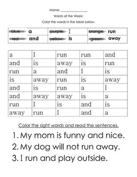 Pre Primer Sight Word Practice Set