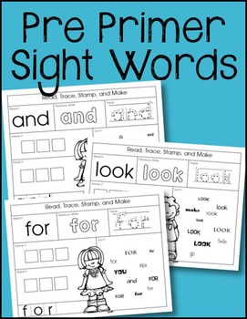 Pre Primer Sight Words Pages