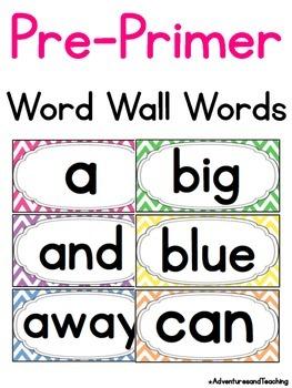Bright Chevron Pre Primer Sight Words Word Wall