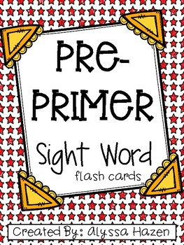 Pre-Primer Dolch Flash Cards- Primary Colored