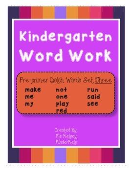 Pre-Primer Word Work SET 3