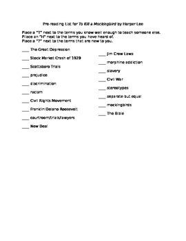 Pre-Reading List for To Kill a Mockingbird