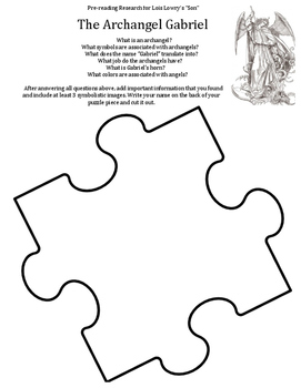 """Pre-Reading Research Jigsaw for Lois Lowry's """"Son"""""""