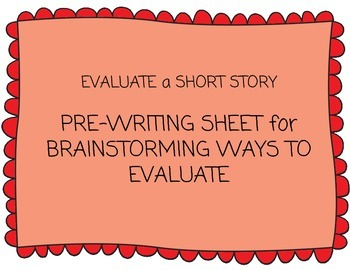 Pre-Writing Chart