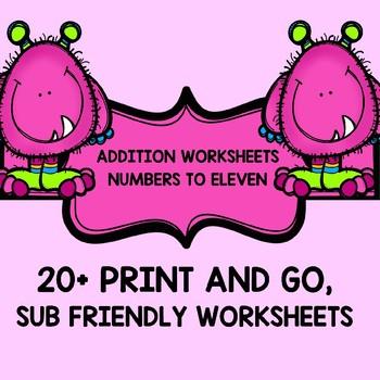 Pre-k - 1st grade EASY ADDITION WORKSHEETS 0-11 25 worksheets