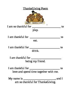 Pre-k Fill in the Blanks Thanksgiving Poem