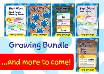 Pre-primer Sight Words -- Dino Theme GROWING BUNDLE