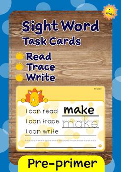 Pre-primer Sight Words -- Dino Theme Reading, Tracing, Wri