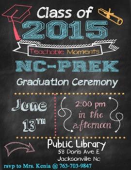 Pre-school Chalk board theme Invitation