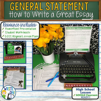 GENERAL STATEMENT & DETAIL STATEMENTS - Introduction to Wr