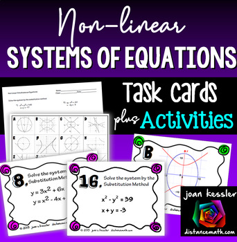 NonLinear Systems of Equations Task Cards and Matching
