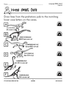 PreK-K Language Arts Unit 2: Prehistoric Pals Lowercase an