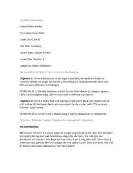 PreK Math Shapes Review Lesson Plan (CCSS aligned)