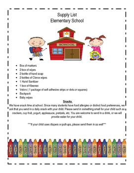 PreK Supply List