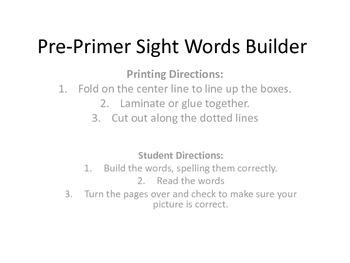 PrePrimer Christmas Sight Word Builder