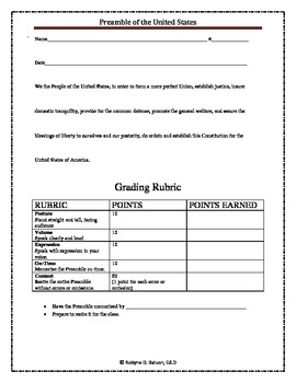 Rubric: Preamble (Student & Grade Sheet)