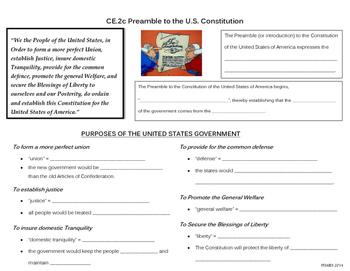 Preamble to the U.S. Constitution note page (CE.2c)