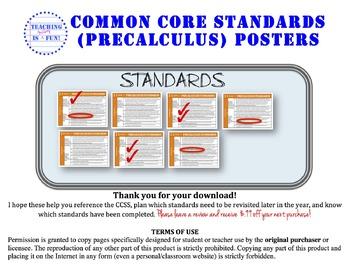 Precaculus (Math Analysis) Common Core Standards Posters (