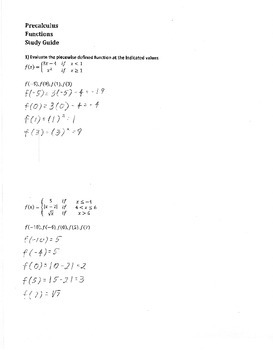 Precalculus Study Guide & Review 2: Answer Key