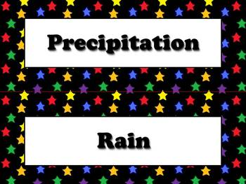 Precipitation Vocabulary Strips for Calendar - Superstars Theme
