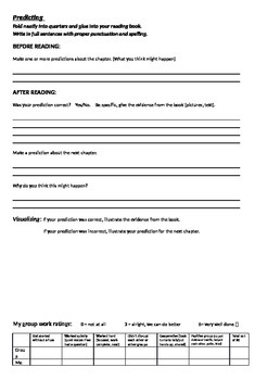 Predicting comprehension worksheet
