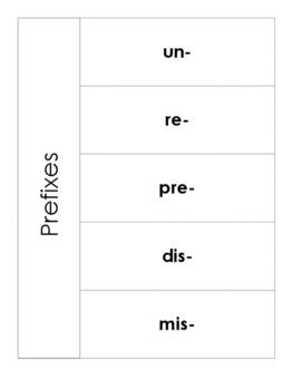 Prefix Flip book for Interactive Notebook