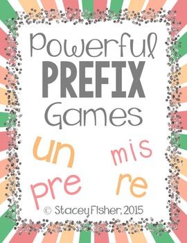 Prefix Games with PRE, RE, UN, and MIS: Memory, BINGO, and