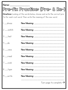 Prefix Practice: Pre- and Re-