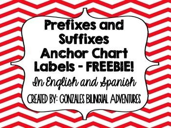 Prefix-Suffix Anchor Chart Headings BILINGUAL FREEBIE!!!