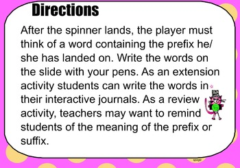 Prefix Suffix Spinner Game for Smartboard