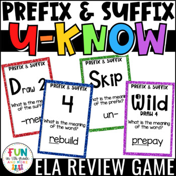 Prefix and Suffix Game for Literacy Centers: Vocabulary Game