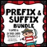 Prefix and Suffix Bundle 24 Task Cards and 4 Games for grades 2-4