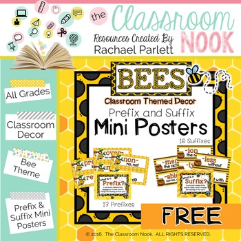 Bee Theme: Prefix and Suffix Mini Posters with Definitions