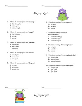 Prefix and Suffix Quiz Multiple Choice for kids