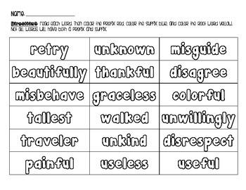 Prefix/Suffix Coloring Activity
