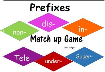 Prefixes Match Up Game (non-, dis, in-,tele- super-)