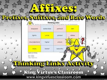Prefixes, Suffixes, and Base Words Thinking Links Activity