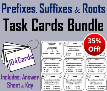 Prefixes, Suffixes and Roots Task Cards 3rd 4th 5th 6th Gr