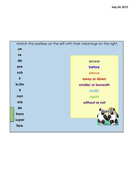 Prefixes and Suffixes for 3rd Grade