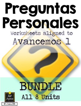 Preguntas Personales: Spanish Question Worksheets BUNDLE (