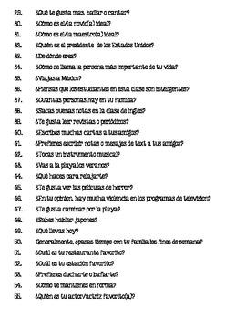 Preguntas para Español 1 - Questions for Spanish 1