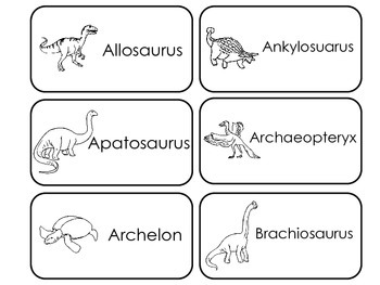 Prehistoric Picture Word Flash Cards. Preschool flash card