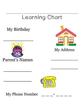 Prek Learning Chart for Personal Info