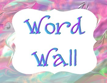 Premade Word Wall