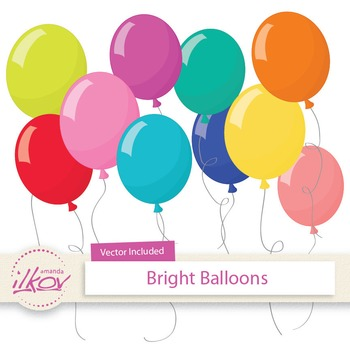 Premium Bright Party Balloons Clipart & Vectors Set - Digi