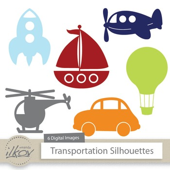Premium Transportation Clipart - Airplane, Boat, Helicopte